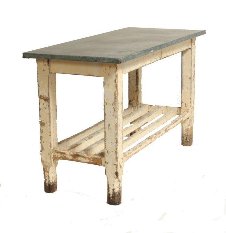Vintage Galvanized Work Table Kitchen Island At 1stdibs