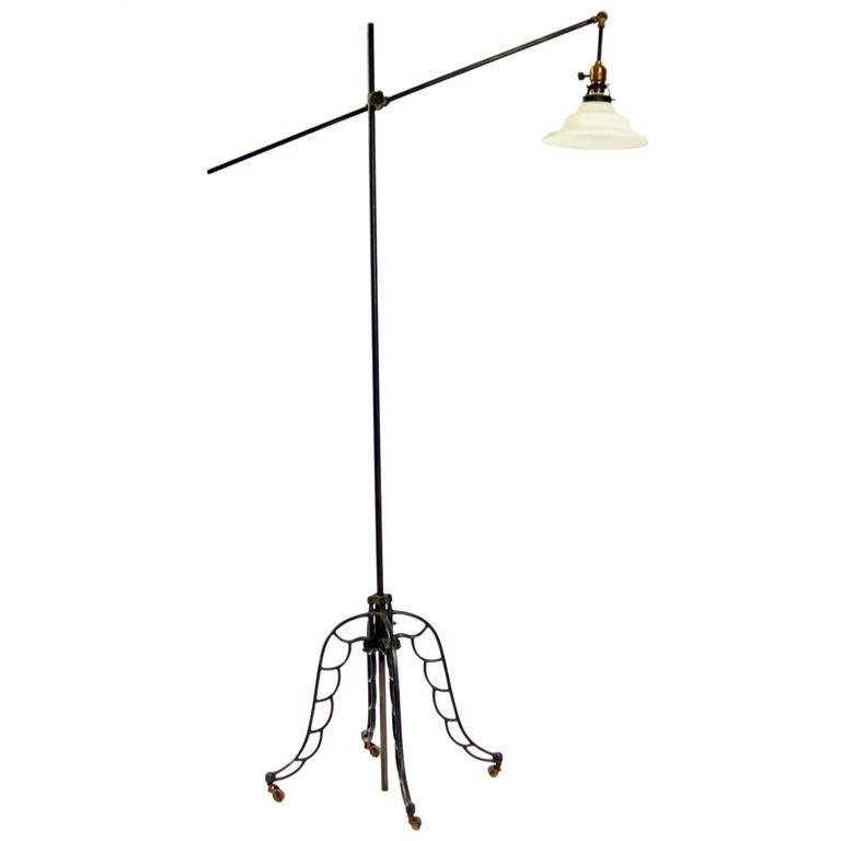 industrial style adjustable floor lamp at 1stdibs. Black Bedroom Furniture Sets. Home Design Ideas