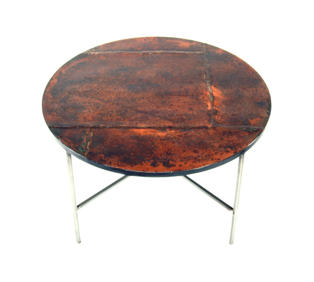 Round Patinated Copper Table At 1stdibs