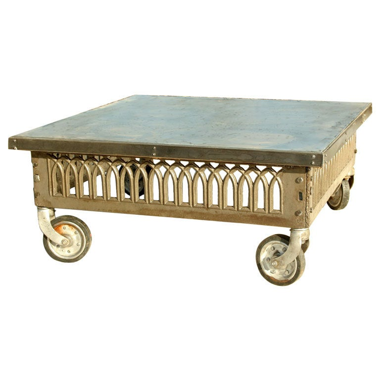 Industrial Cast Iron And Zinc Coffee Table At 1stdibs