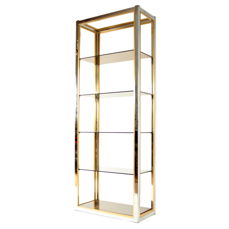 1970s Italian Chrome Brass And Glass Etagere At 1stdibs