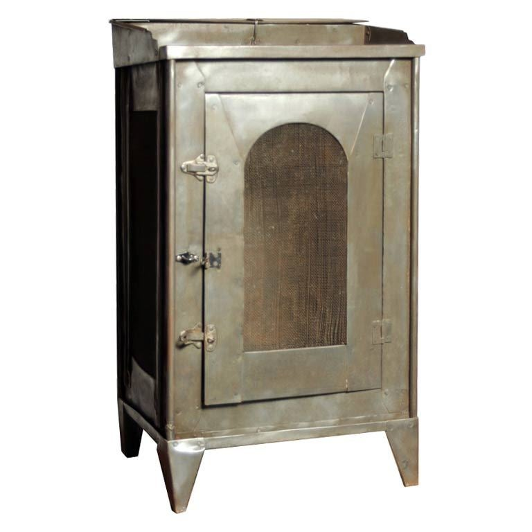 Industrial Metal Cabinet Nightstand at 1stdibs