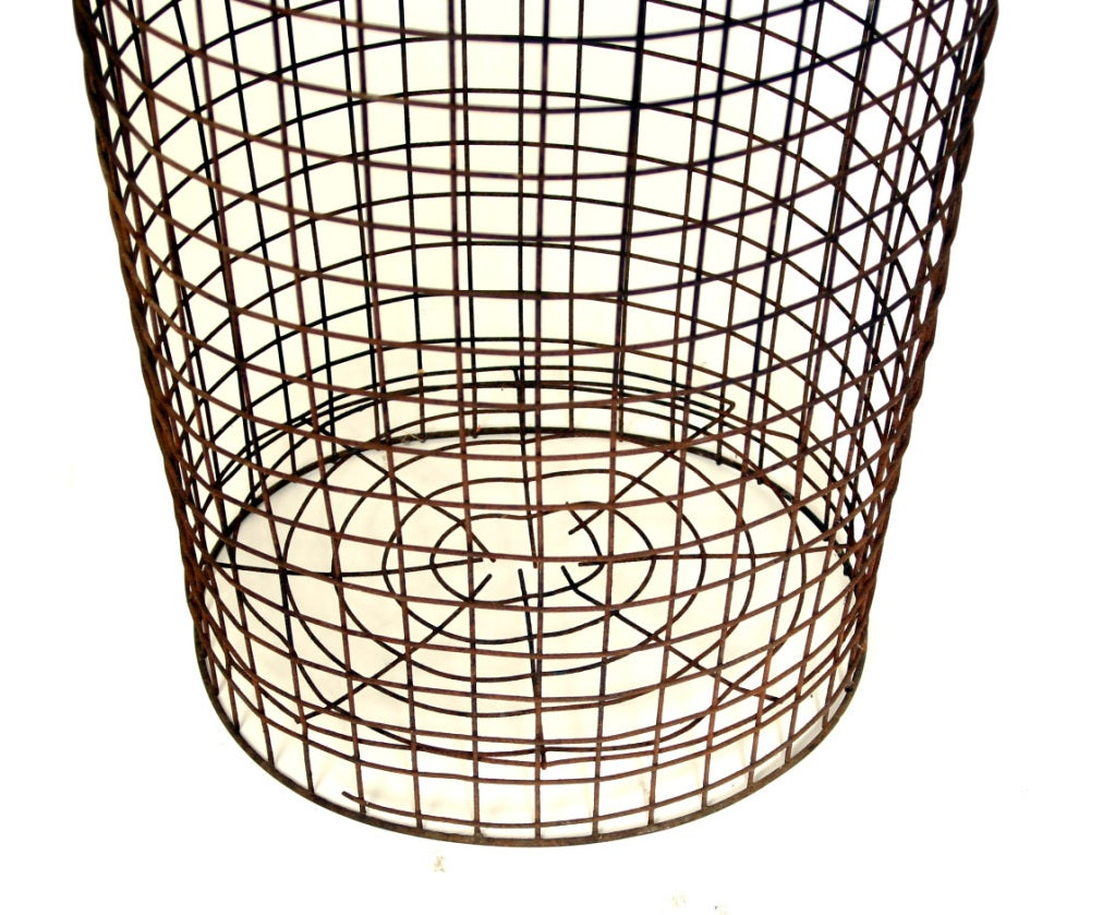 tall vintage wire basket at stdibs - tall vintage wire basket