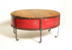 Vintage Industrial Round Red Coffee Table thumbnail 2