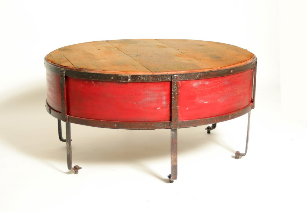 Vintage Industrial Round Red Coffee Table image 2