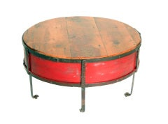 Vintage Industrial Round Red Coffee Table thumbnail 3