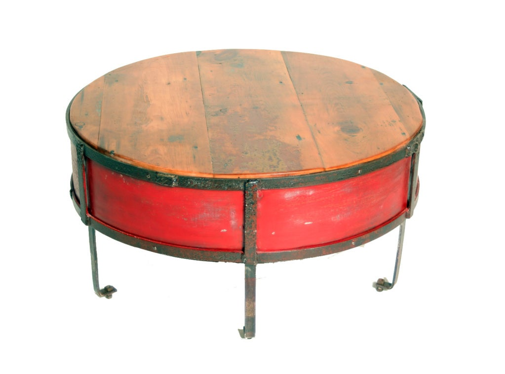 Vintage Industrial Round Red Coffee Table image 3