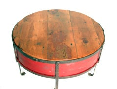 Vintage Industrial Round Red Coffee Table thumbnail 4