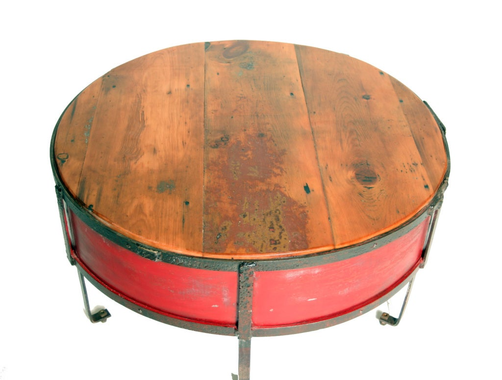 Vintage Industrial Round Red Coffee Table image 4
