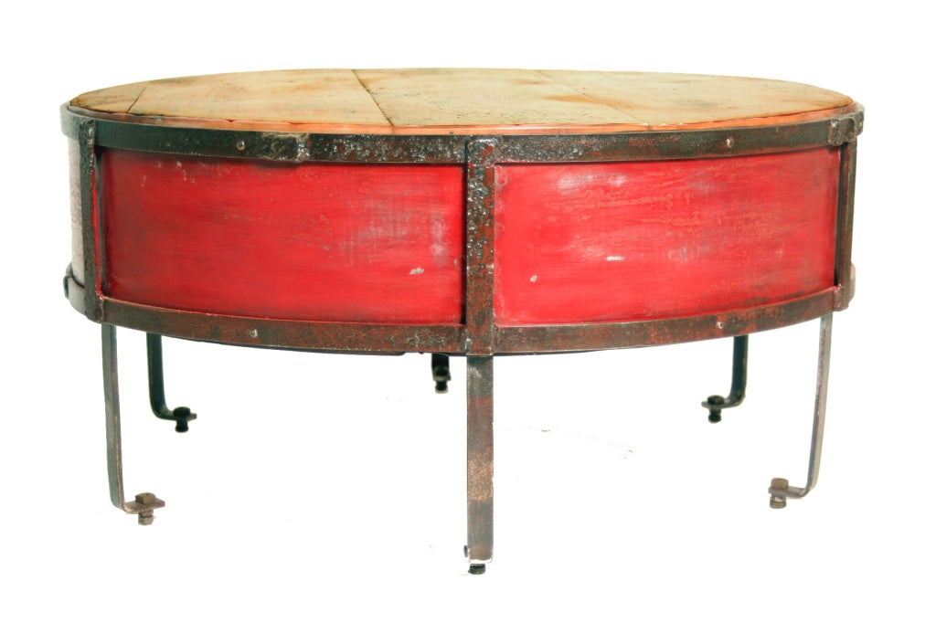 Vintage Industrial Round Red Coffee Table image 5