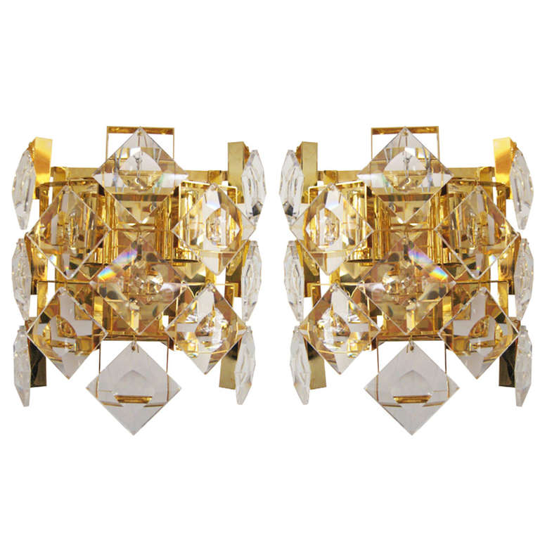 Sconces With Geometric Crystals At 1stdibs