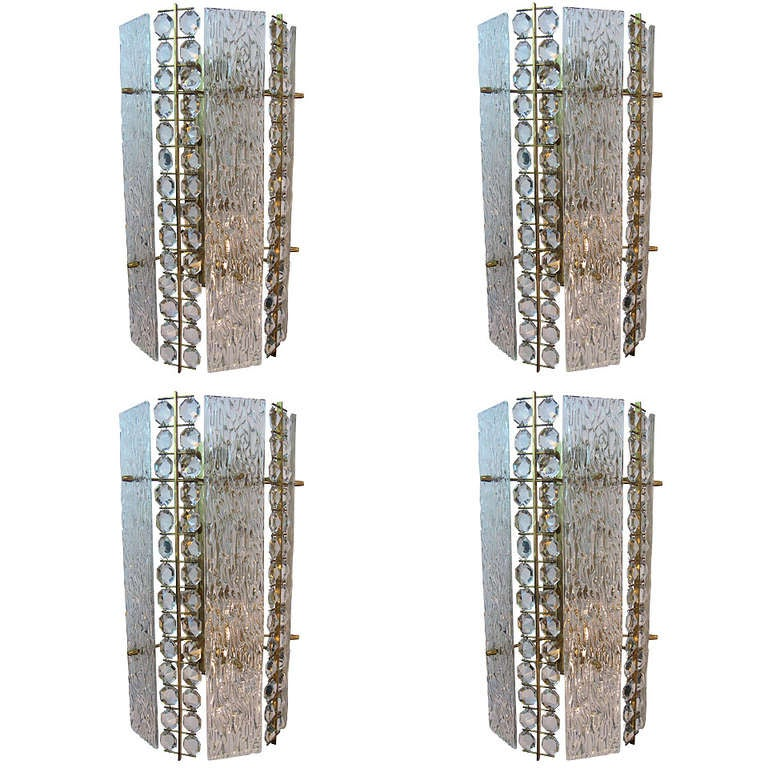 Large Crystal Wall Sconces : Large Lobmeyr Crystal and Glass Sconces at 1stdibs