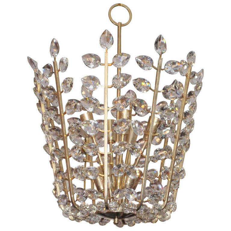 Chandelier With Pear Shaped Crystals At 1stdibs