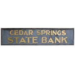 "1900's Tin Gold Leaf Sign "" Cedar Springs State Bank """