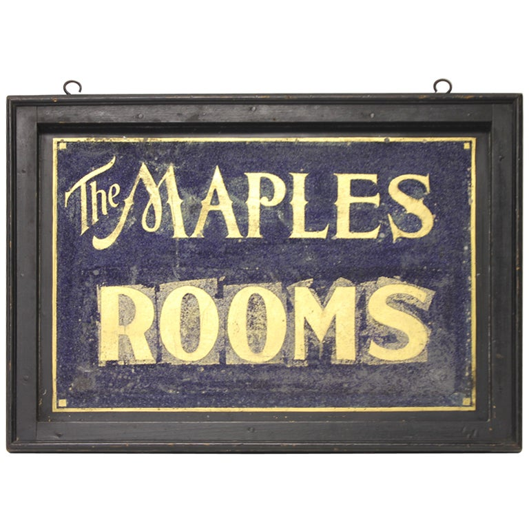 1900s double sided tin sign with gold leaf lettering for sale