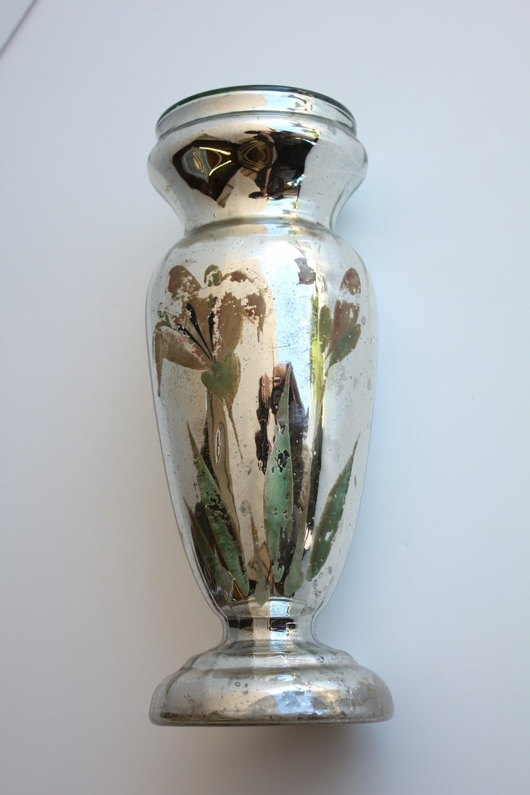 antique hand painted mercury glass vase 2 available for