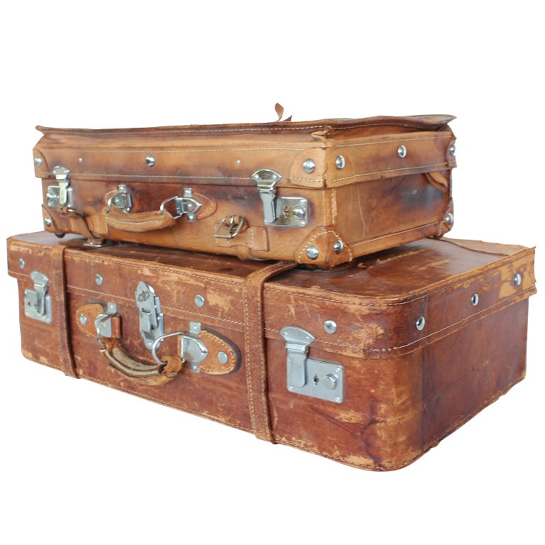 Vintage English Leather Suitcases at 1stdibs