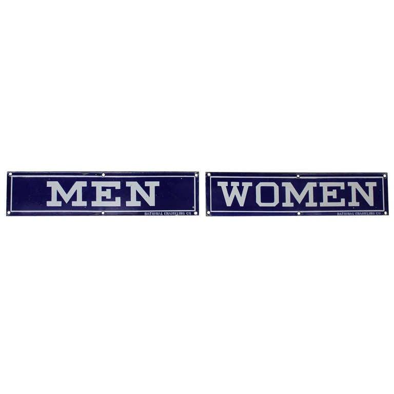 "1930's Original Enamel Signs "" Men "" & "" Women """
