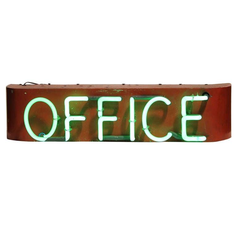 1930's Neon Sign Office 1