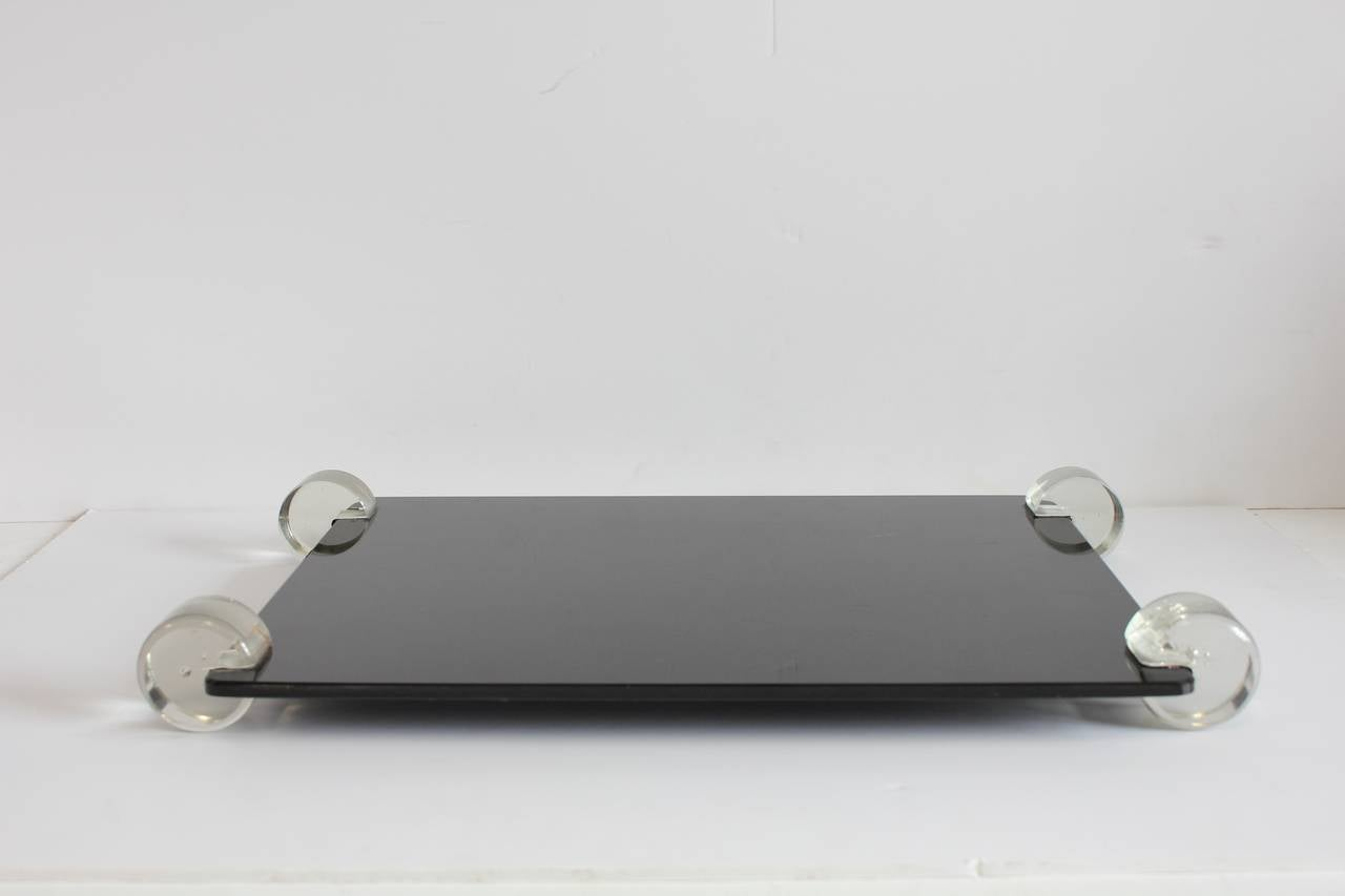Stylish Mid-Century black glass and Lucite tray.