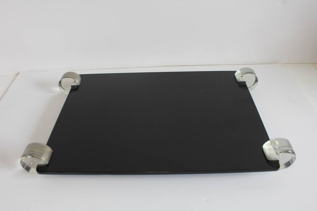 Mid-Century Modern Stylish Mid-Century Black Glass and Lucite Tray For Sale