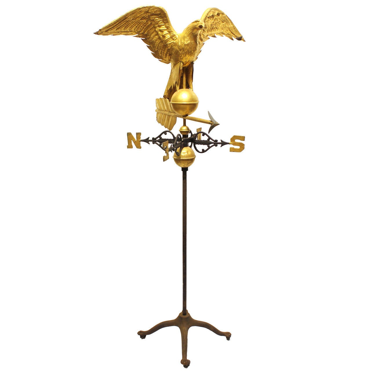 Full Body 19th Century American Tin Eagle Weathervane