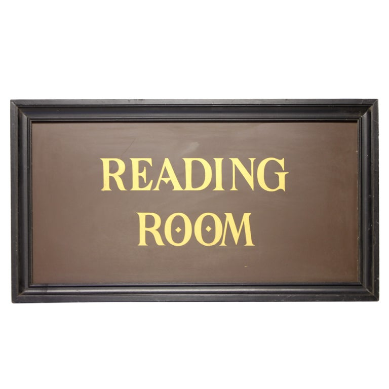 "1930's Hand Painted Library Sign "" Reading Room "" 1"