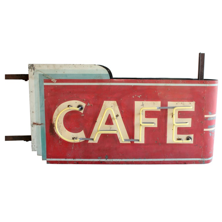 "1930's Art Deco Hanging Double Sided "" Cafe "" Can Sign 1"