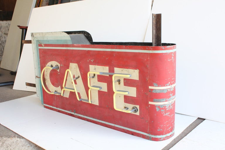 "1930's Art Deco Hanging Double Sided "" Cafe "" Can Sign 2"