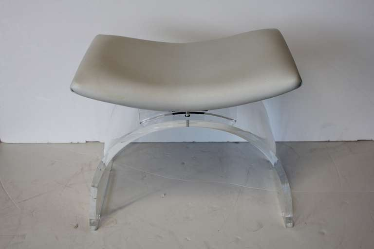 Lucite and leather vanity stool at 1stdibs