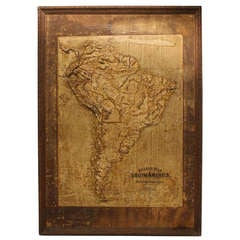 Large Late 1800's Raised Relief Map Of South America