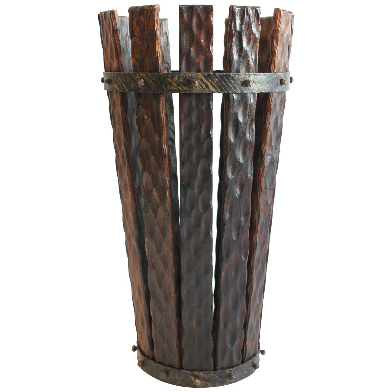 Tall s wood and iron umbrella stand at stdibs