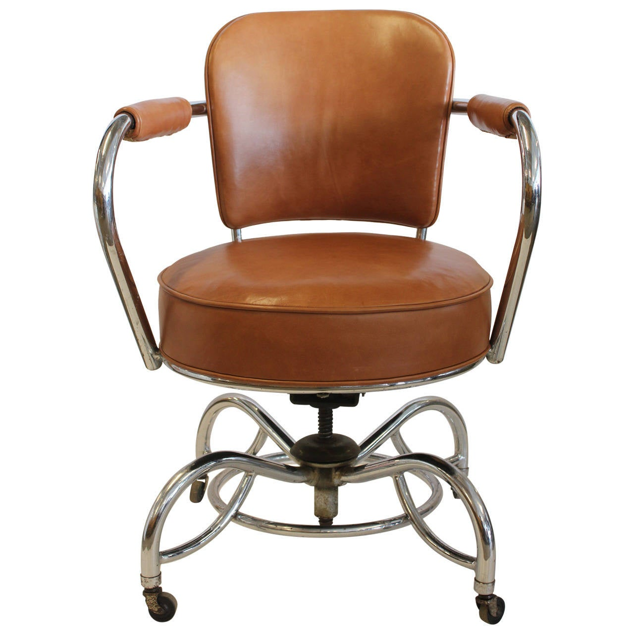 Stylish Desk stylish art deco leather and chrome desk chair at 1stdibs