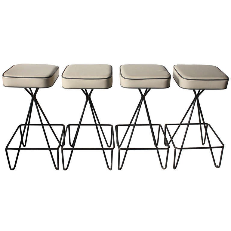 Super Set Of 4 Stylish Frederic Weinberg Style Bar Stools Andrewgaddart Wooden Chair Designs For Living Room Andrewgaddartcom