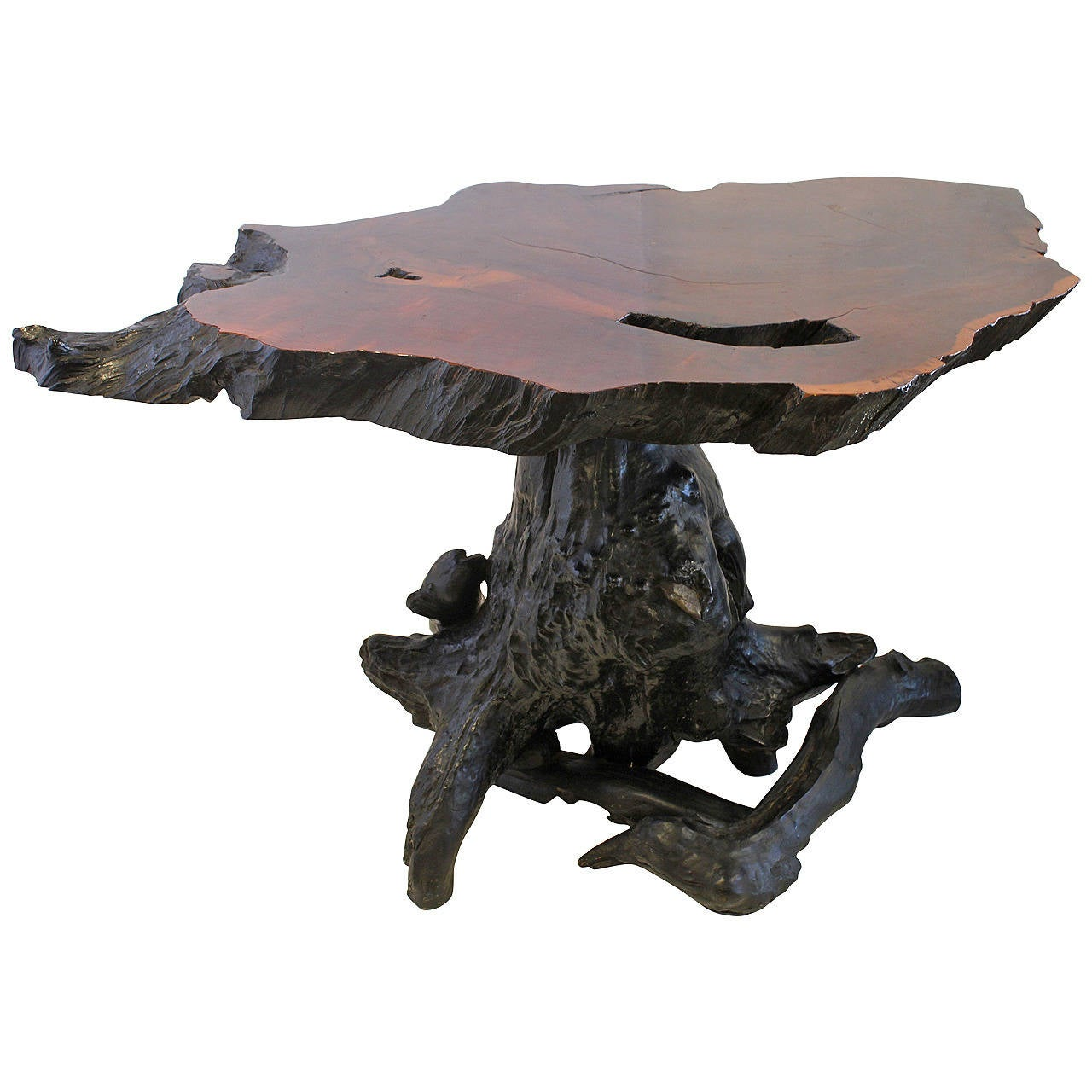 Michael taylor cyprus tree trunk dining table at 1stdibs - Spectacular Redwood Tree Trunk Root Table 1