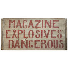 "Vintage Hand-Painted Wood Sign ""Explosives Dangerous"""