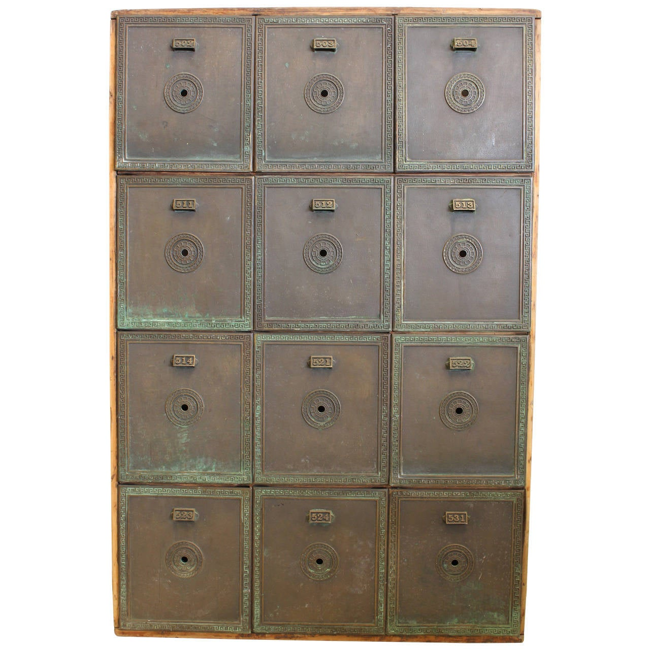 Antique Double-Sided Safety Deposit Box Cabinet at 1stdibs