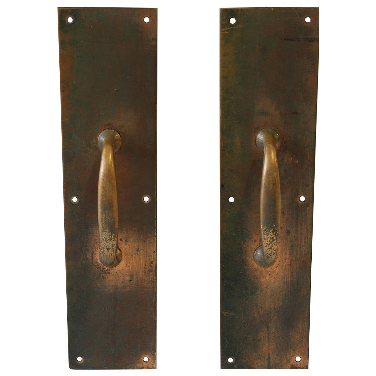 Antique Copper And Brass Entry Door Pull Hardware For Sale At 1stdibs