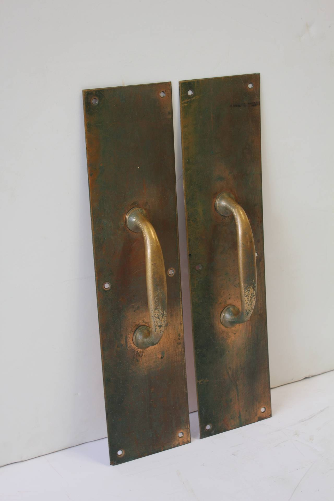 Antique Copper And Brass Entry Door Pull Hardware At 1stdibs