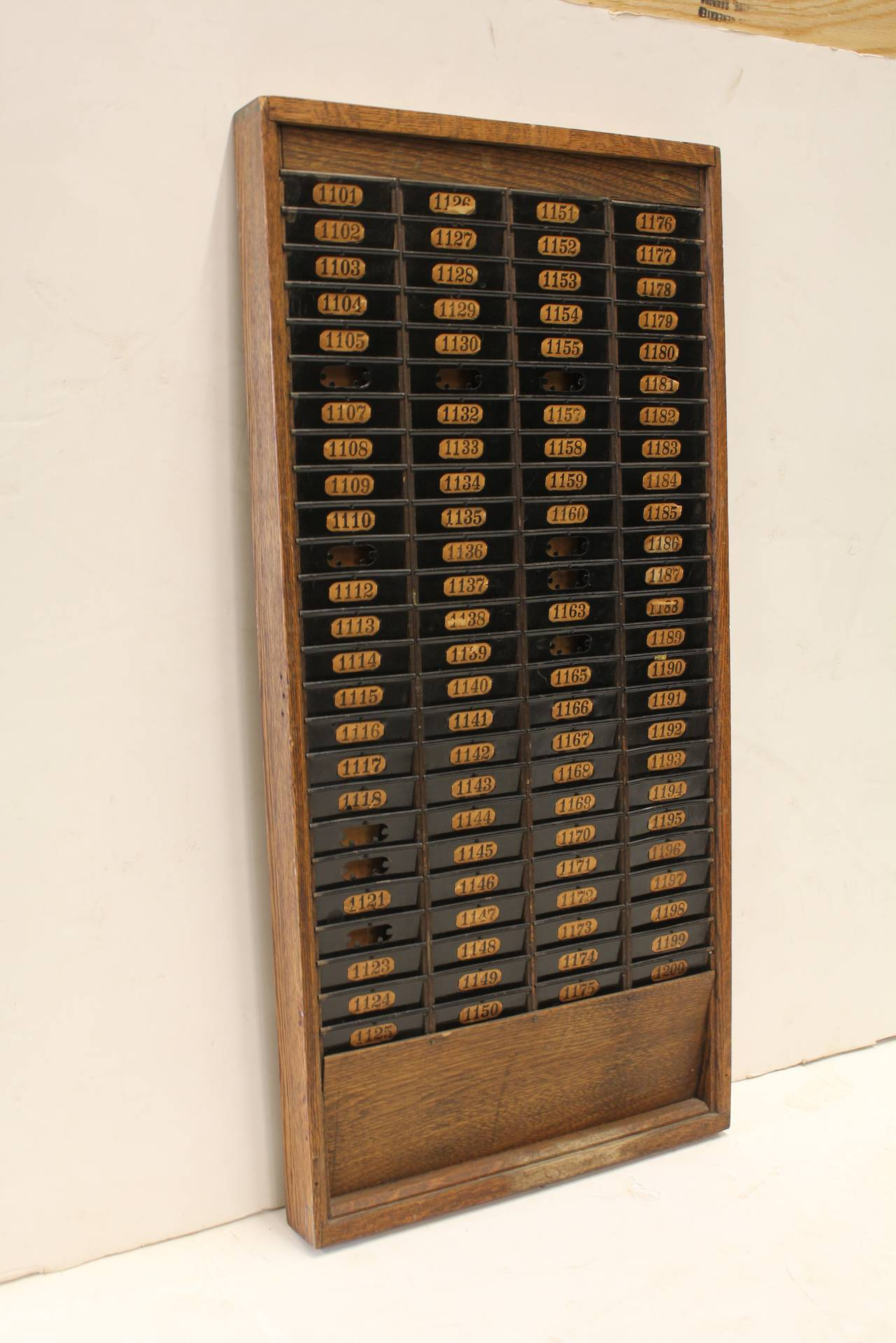 Antique American Factory Worker Time Card Rack