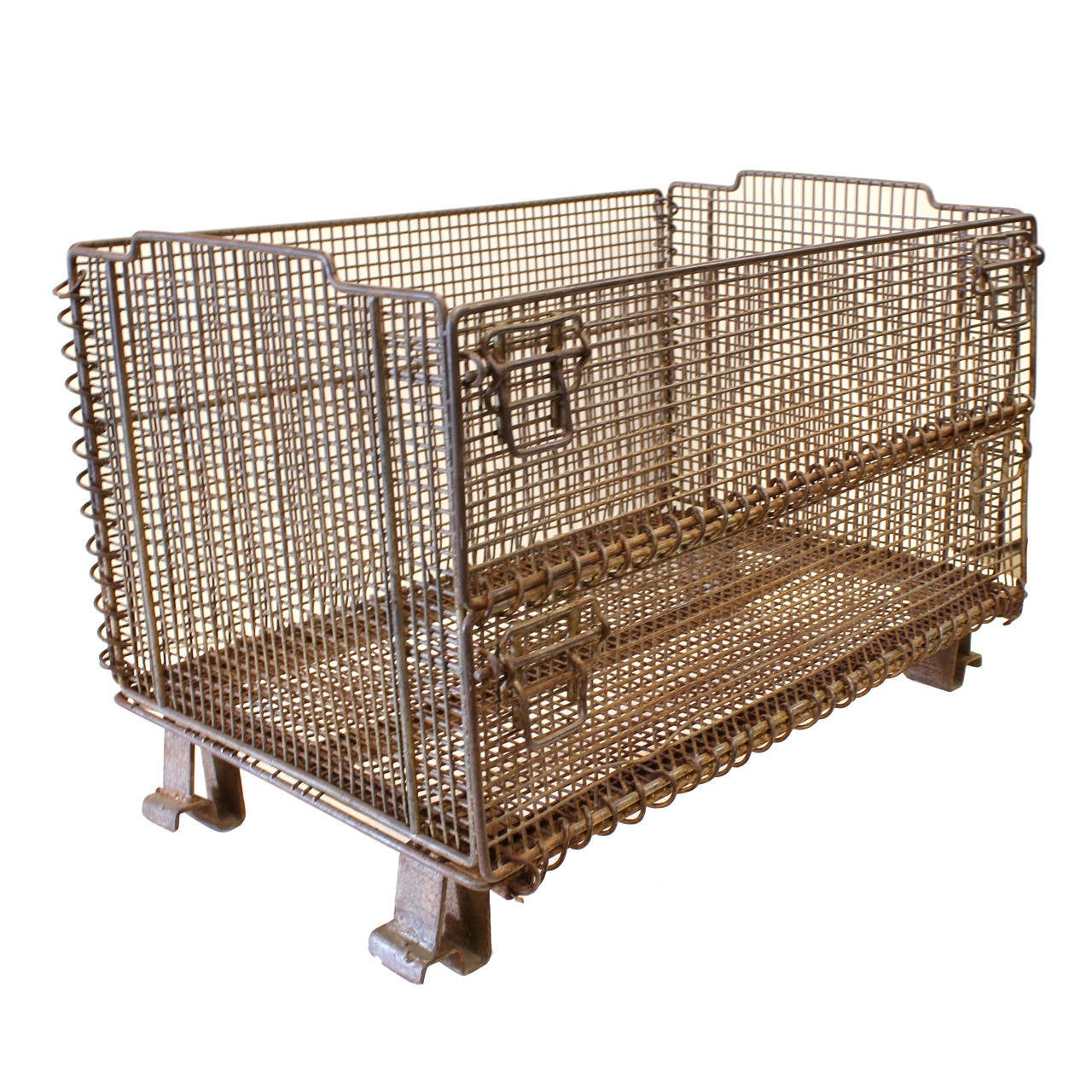 large original american industrial collapsible wire baskets for sale at 1stdibs. Black Bedroom Furniture Sets. Home Design Ideas