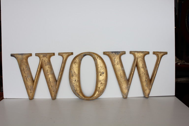 "1920's Gold Leaf Metal Sign "" WOW "" image 2"