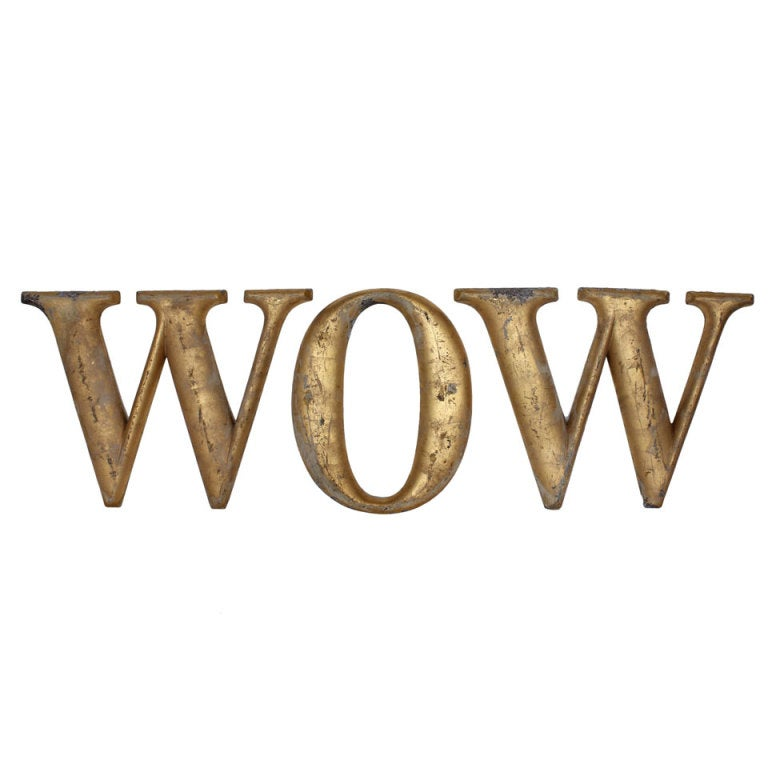 "1920's Gold Leaf Metal Sign "" WOW """