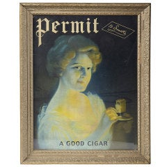 "1900's "" Permit To Smoke A Good Cigar "" Poster"