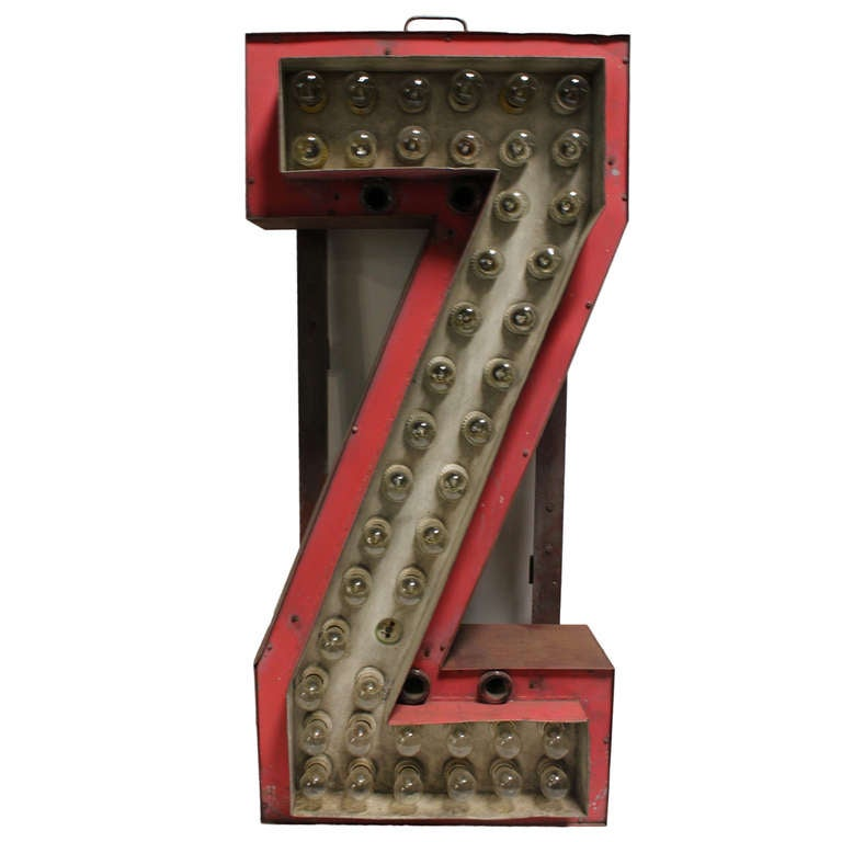 Light Up Theater: 1930's Theatre Marquee Light Up Letter Z At 1stdibs