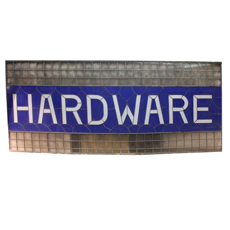 """9 Ft Long 1900's Stained Glass """" Hardware """" Sign"""