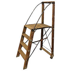 Large Antique American Dry Goods Store Ladder