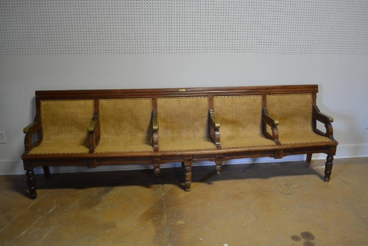 Antique American Railroad Station Bench At 1stdibs