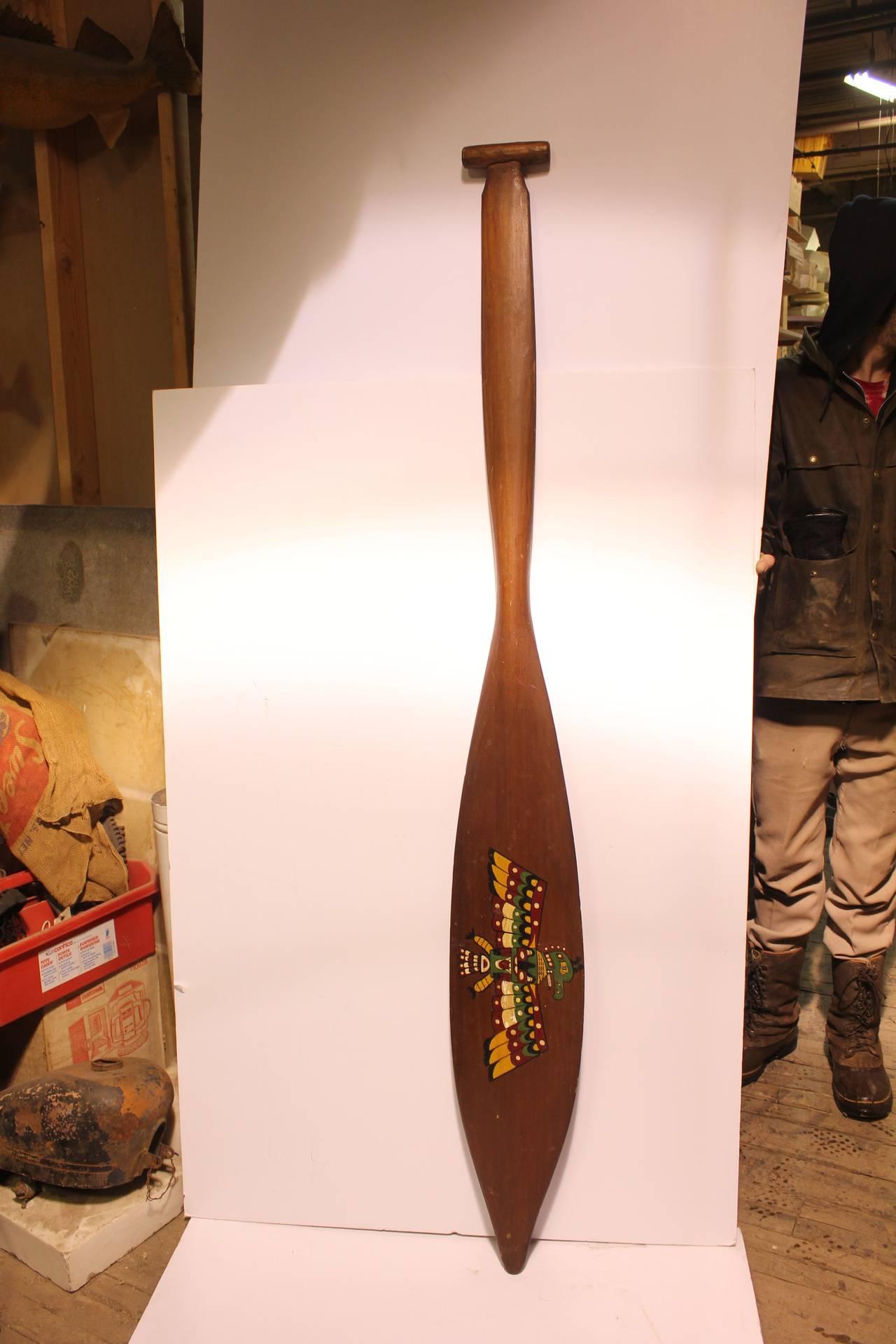 Large Antique Northwest Native American Wood Paddle For