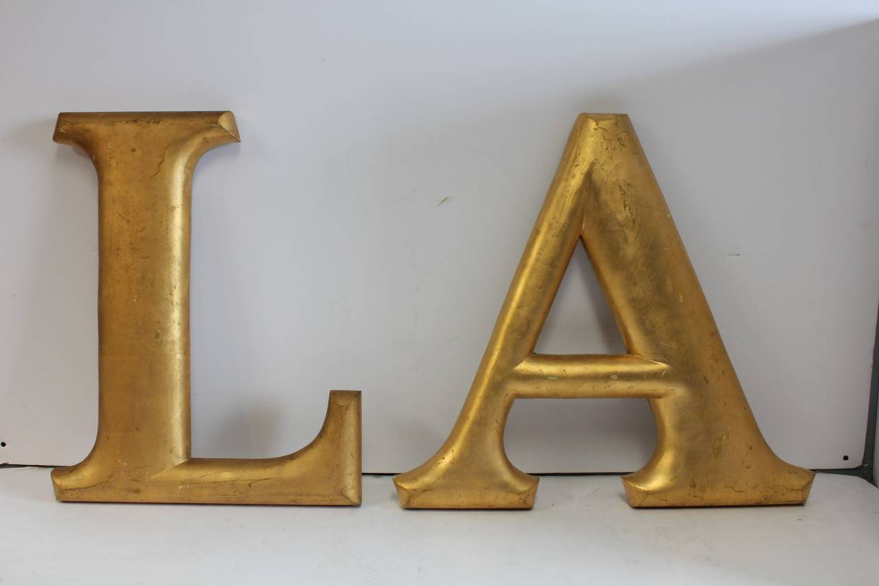 large wood letters large antique gold leaf wood letters quot la quot for los angeles 18592